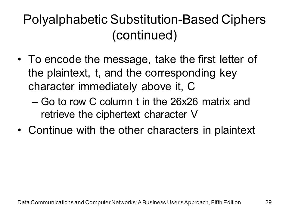 Data Communications and Computer Networks: A Business User s Approach, Fifth Edition29 Polyalphabetic Substitution-Based Ciphers (continued) To encode the message, take the first letter of the plaintext, t, and the corresponding key character immediately above it, C –Go to row C column t in the 26x26 matrix and retrieve the ciphertext character V Continue with the other characters in plaintext