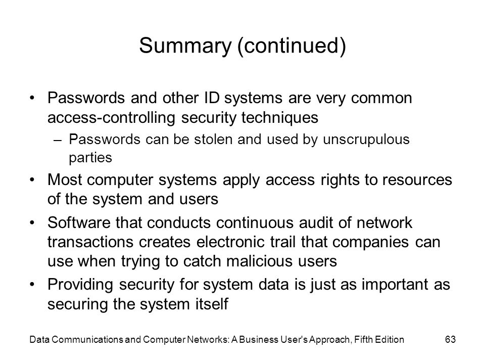 Data Communications and Computer Networks: A Business User s Approach, Fifth Edition63 Summary (continued) Passwords and other ID systems are very common access-controlling security techniques –Passwords can be stolen and used by unscrupulous parties Most computer systems apply access rights to resources of the system and users Software that conducts continuous audit of network transactions creates electronic trail that companies can use when trying to catch malicious users Providing security for system data is just as important as securing the system itself