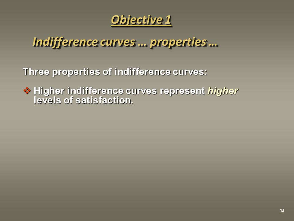 Three properties of indifference curves:  Higher indifference curves represent higher levels of satisfaction. Indifference curves … properties … Obje