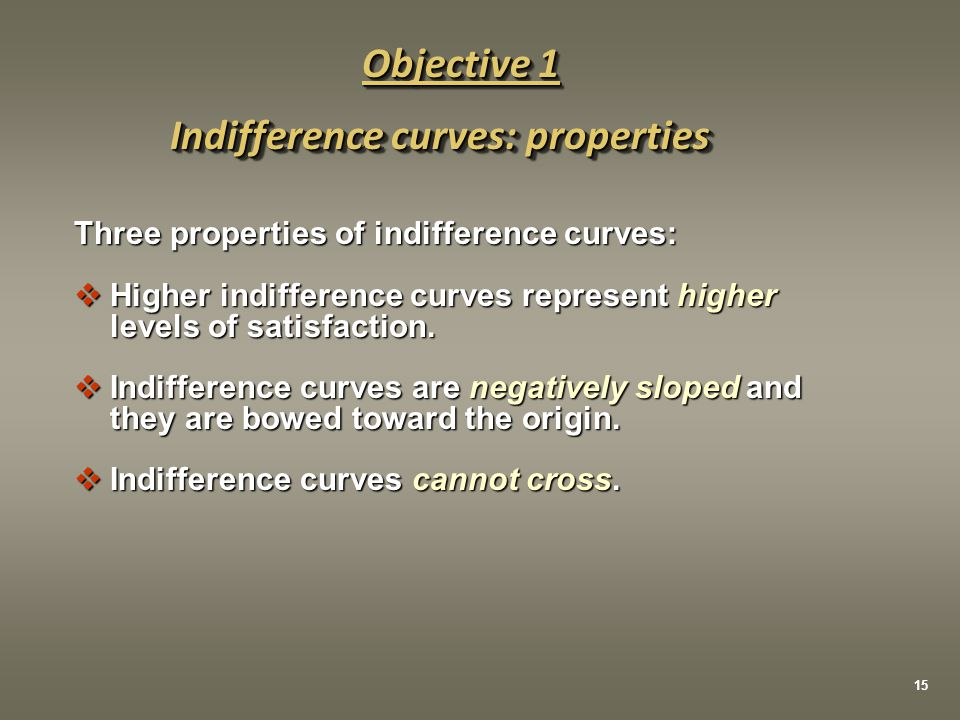 Three properties of indifference curves:  Higher indifference curves represent higher levels of satisfaction.  Indifference curves are negatively sl