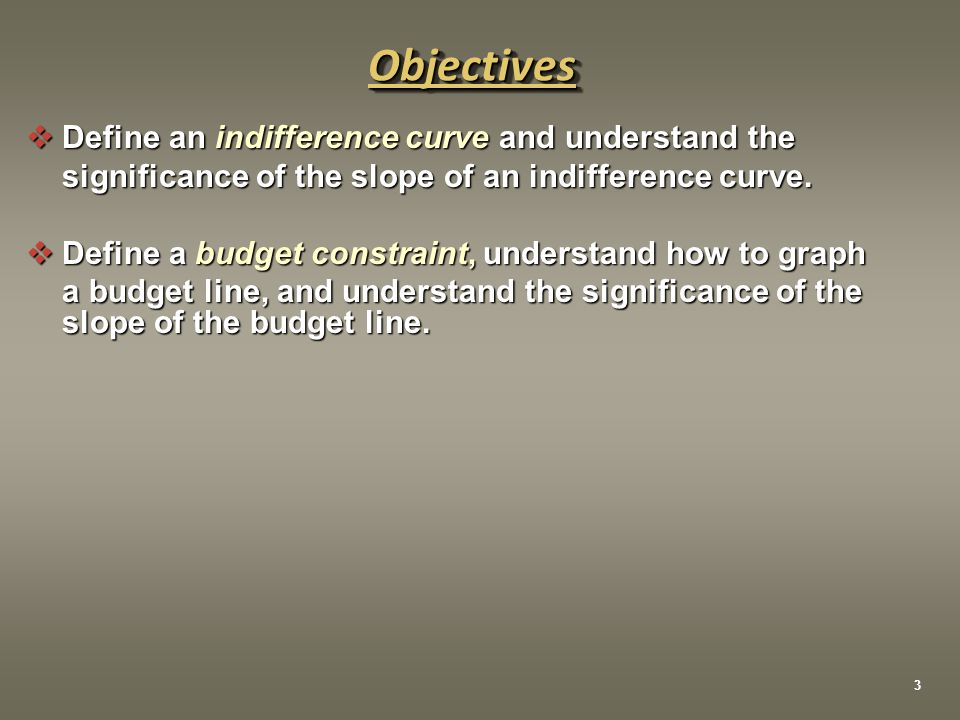 Objective 5 Understand how to derive a demand curve using indifference curves and budget lines  The demand curve shows the quantities of a good that a consumer is willing to purchase at alternative prices.