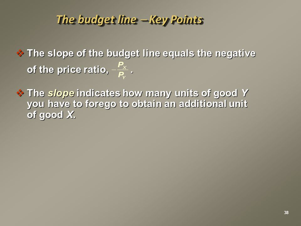  The slope of the budget line equals the negative of the price ratio,.  The slope indicates how many units of good Y you have to forego to obtain an