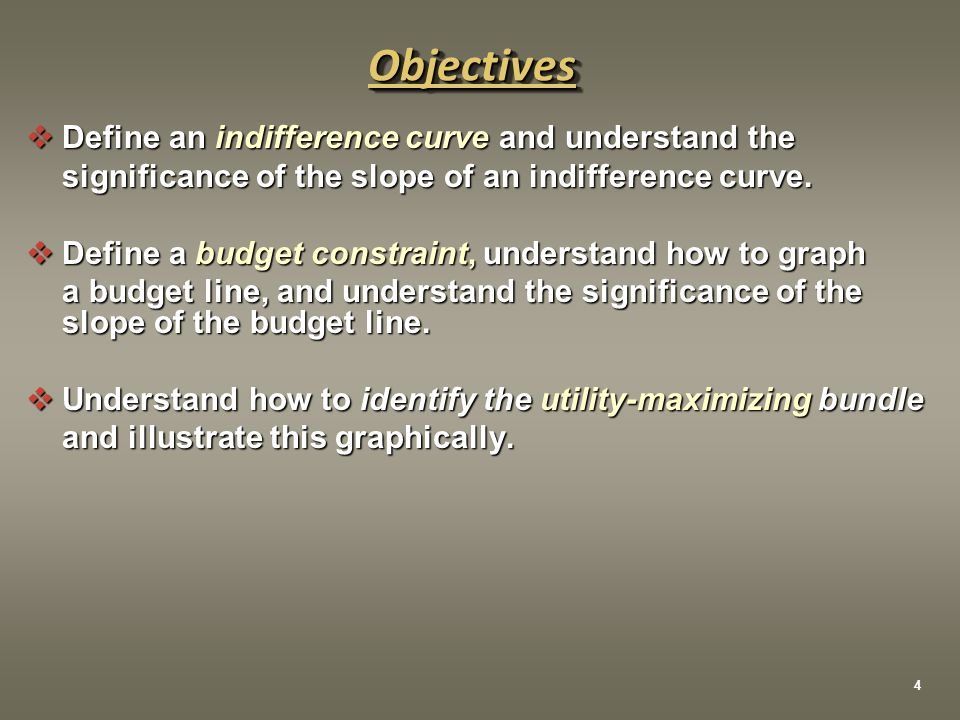 Objective 5 To derive a demand curve using indifference curves and budget lines  The demand curve shows the quantities of a good that a consumer is willing to purchase at alternative prices.