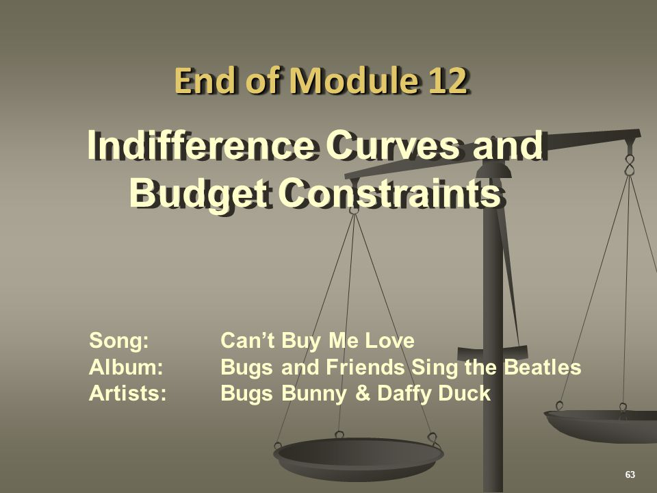 Indifference Curves and Budget Constraints Indifference Curves and Budget Constraints End of Module 12 Song:Can't Buy Me Love Album:Bugs and Friends S