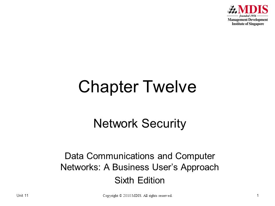 Chapter Twelve Network Security Data Communications and Computer Networks: A Business User's Approach Sixth Edition Copyright © 2010 MDIS.