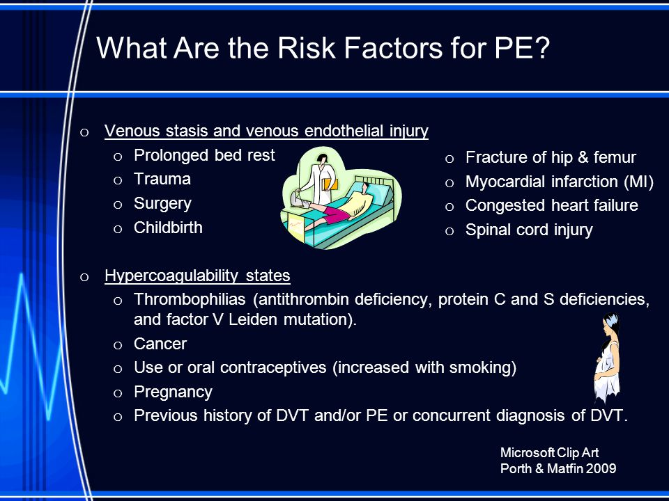 What Are the Risk Factors for PE.