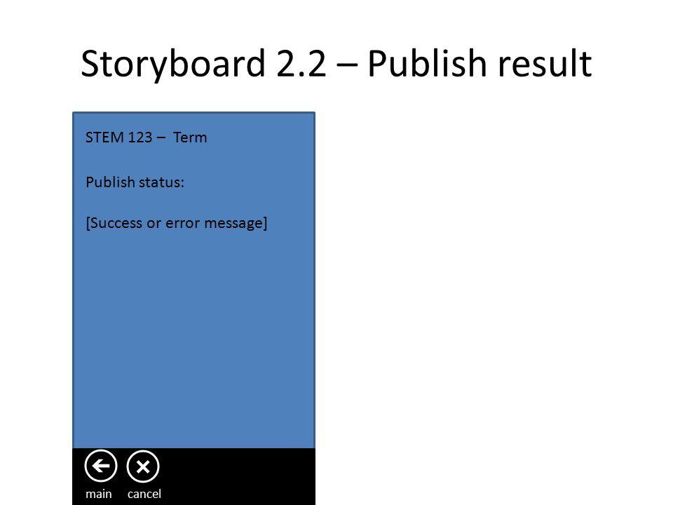 Storyboard 2.1.3 – Video STEM 123 – Term Question text … Duration left for recording Video content main savecancel recordPlay / pause On save / cancel user will be taken back to page 2.1 to continue creating / editing the presentation.