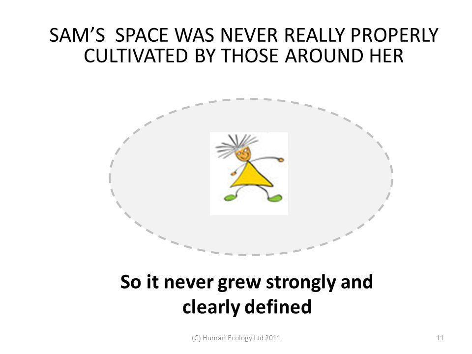 (C) Human Ecology Ltd 201111 SAM'S SPACE WAS NEVER REALLY PROPERLY CULTIVATED BY THOSE AROUND HER So it never grew strongly and clearly defined