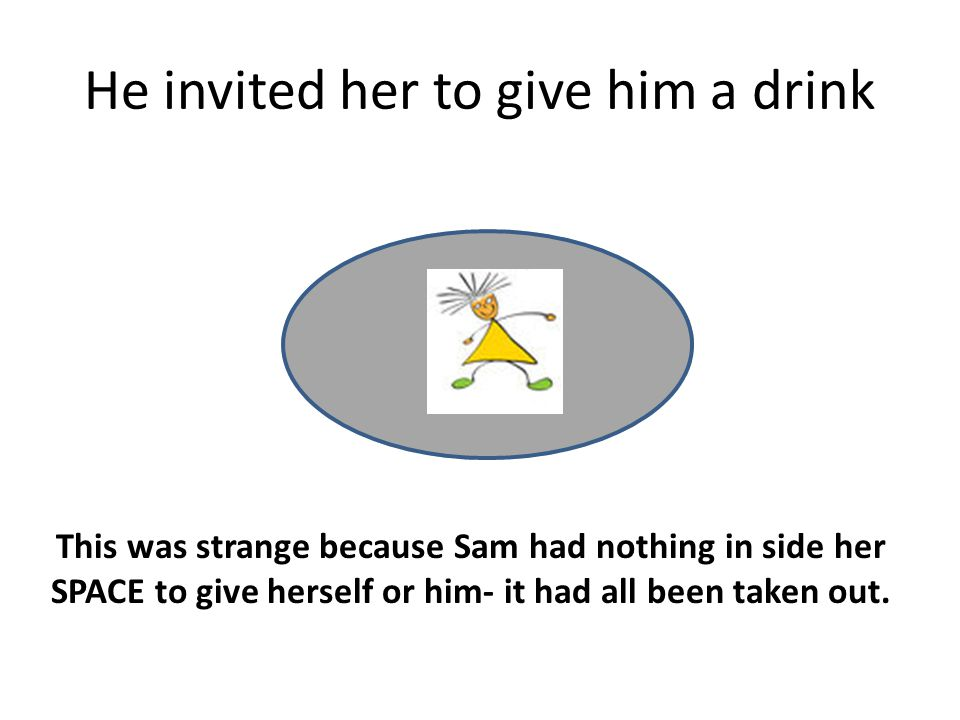 He invited her to give him a drink This was strange because Sam had nothing in side her SPACE to give herself or him- it had all been taken out.