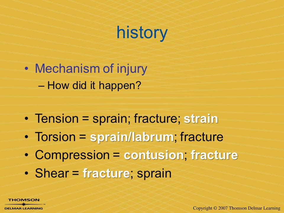 history Mechanism of injury –How did it happen? strainTension = sprain; fracture; strain sprain/labrumTorsion = sprain/labrum; fracture contusionfract