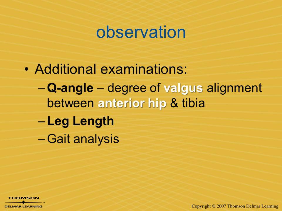 observation Additional examinations: valgus anterior hip –Q-angle – degree of valgus alignment between anterior hip & tibia –Leg Length –Gait analysis