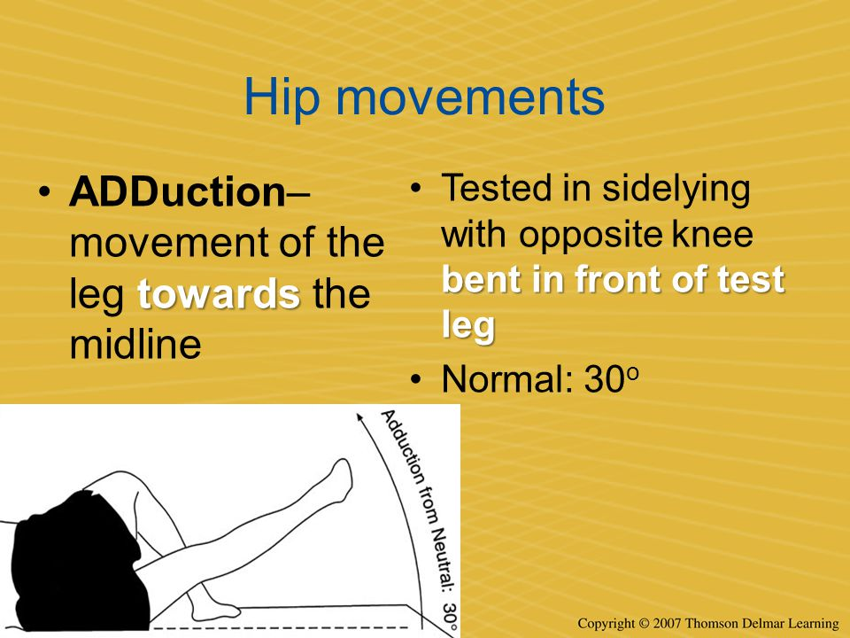 Hip movements towardsADDuction– movement of the leg towards the midline bent in front of test legTested in sidelying with opposite knee bent in front