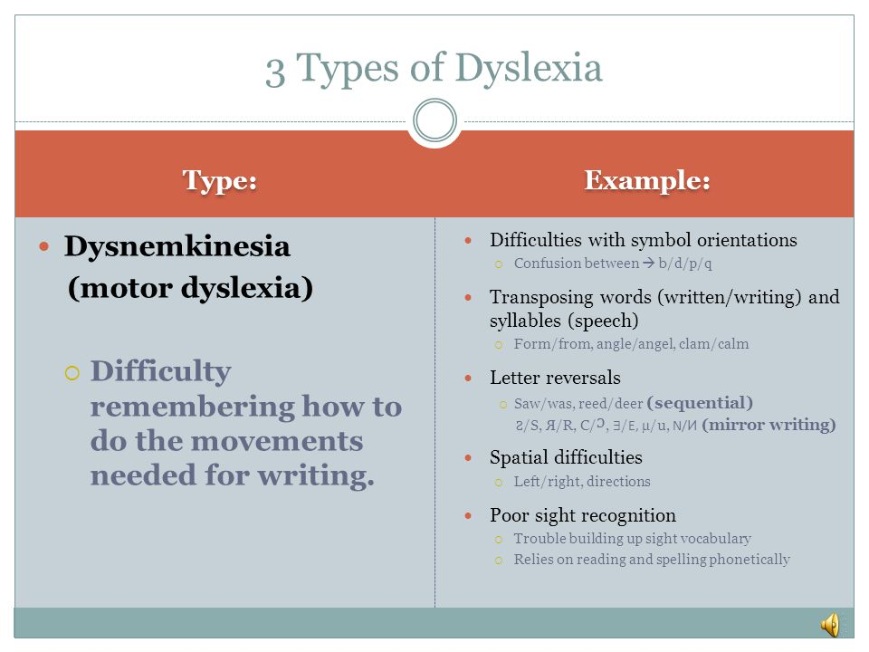 Type: Example: Dysnemkinesia (motor dyslexia)  Difficulty remembering how to do the movements needed for writing.