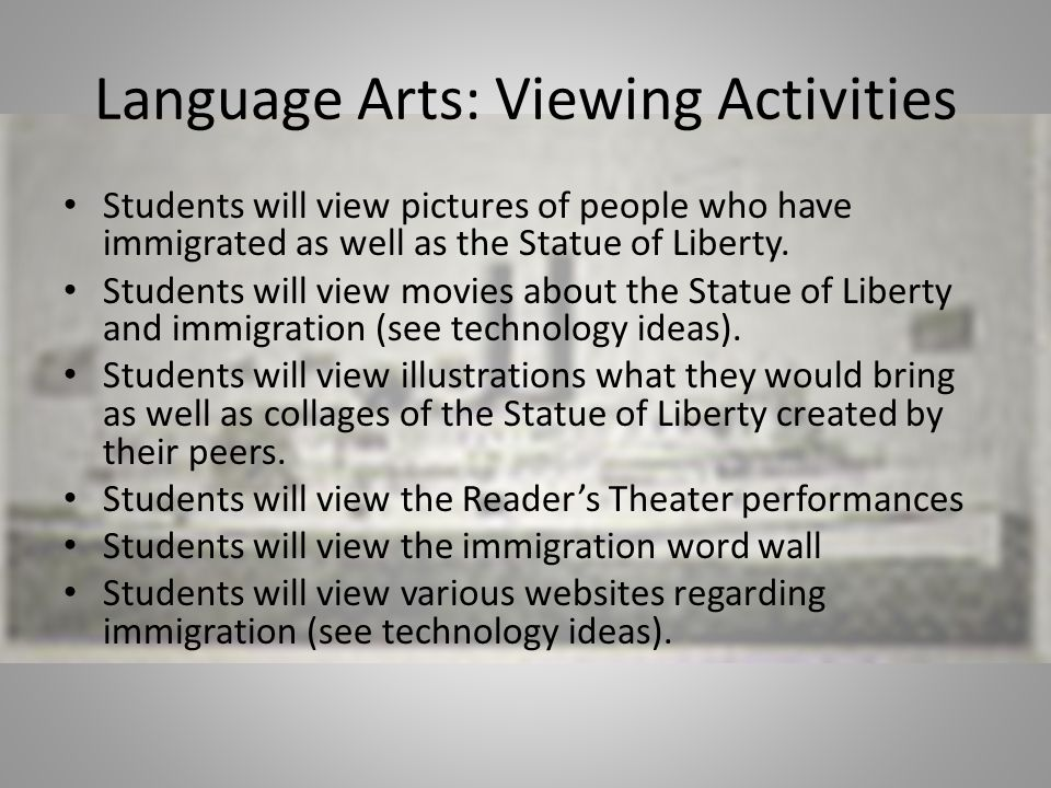 Language Arts: Viewing Activities Students will view pictures of people who have immigrated as well as the Statue of Liberty.