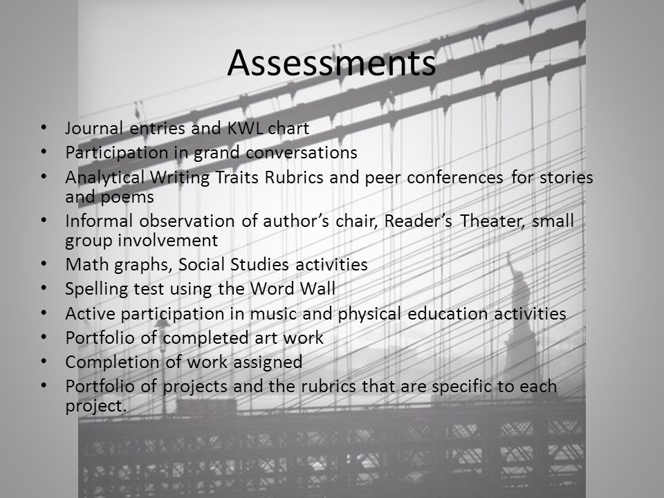 Assessments Journal entries and KWL chart Participation in grand conversations Analytical Writing Traits Rubrics and peer conferences for stories and poems Informal observation of author's chair, Reader's Theater, small group involvement Math graphs, Social Studies activities Spelling test using the Word Wall Active participation in music and physical education activities Portfolio of completed art work Completion of work assigned Portfolio of projects and the rubrics that are specific to each project.