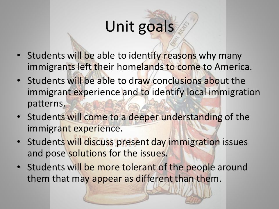 Unit goals Students will be able to identify reasons why many immigrants left their homelands to come to America.