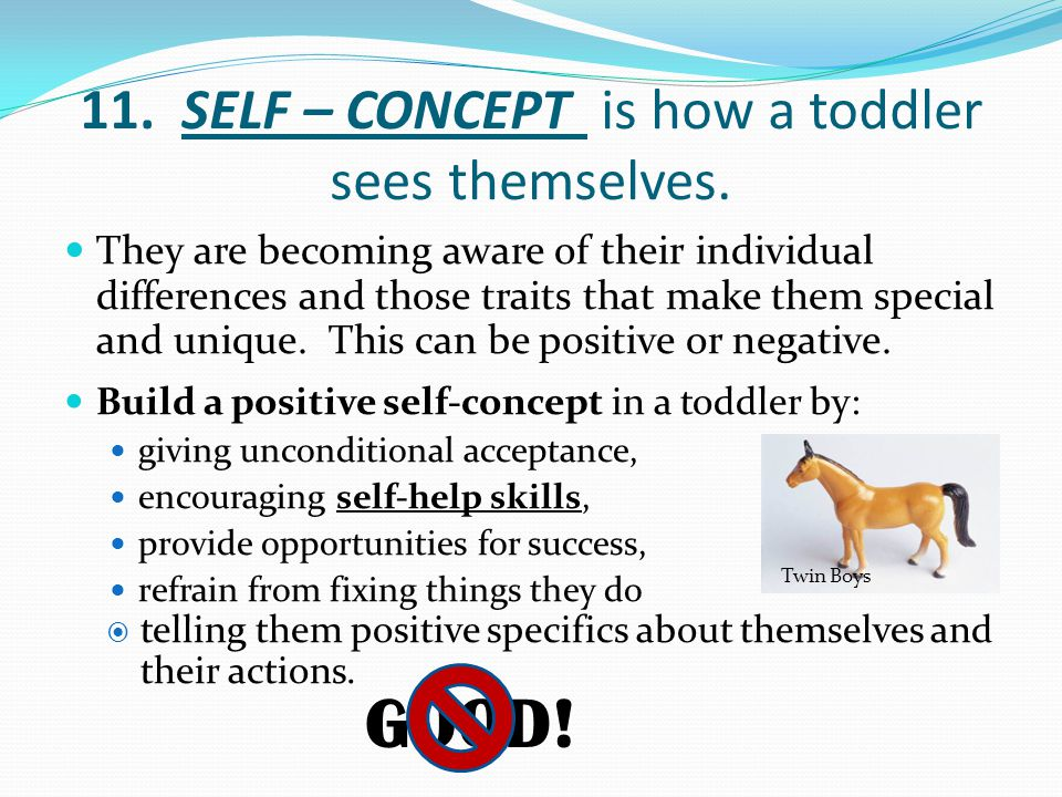11. SELF – CONCEPT is how a toddler sees themselves.