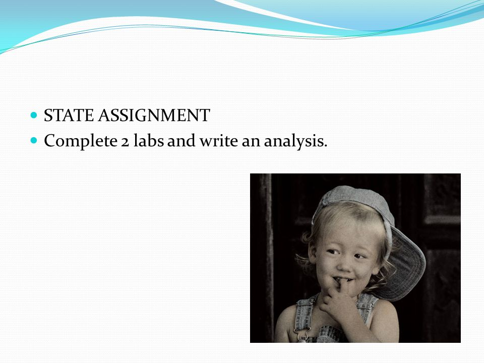 STATE ASSIGNMENT Complete 2 labs and write an analysis.