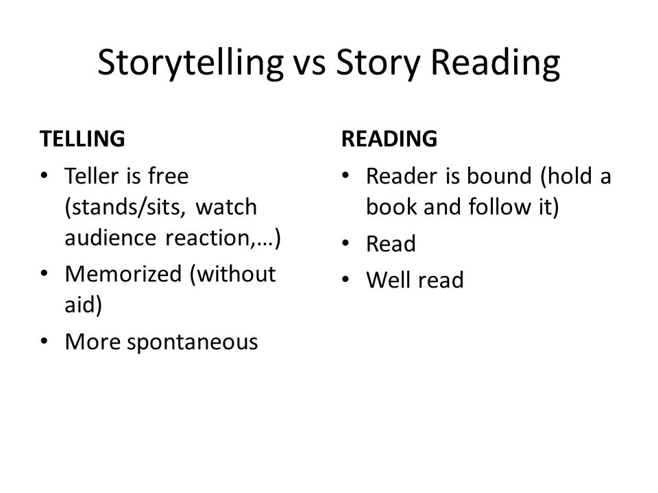Storytelling vs Story Reading TELLING Teller is free (stands/sits, watch audience reaction,…) Memorized (without aid) More spontaneous READING Reader is bound (hold a book and follow it) Read Well read