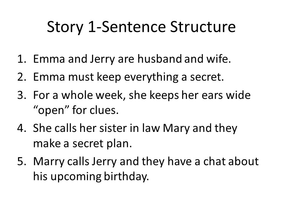 Paragraph 7: Group 1 Mary will call Jerry, / ask him what he would like to receive for his birthday, / and Emma will listen to the conversation / (without Jerry knowing it).