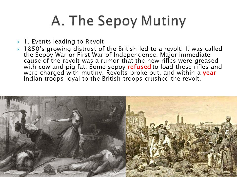  1. Events leading to Revolt  1850's growing distrust of the British led to a revolt. It was called the Sepoy War or First War of Independence. Majo