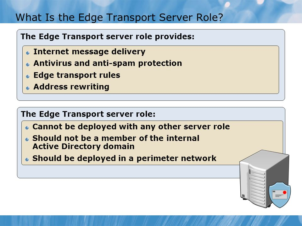 The Edge Transport server role: What Is the Edge Transport Server Role.