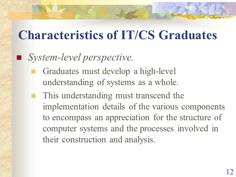 12 Characteristics of IT/CS Graduates System-level perspective.