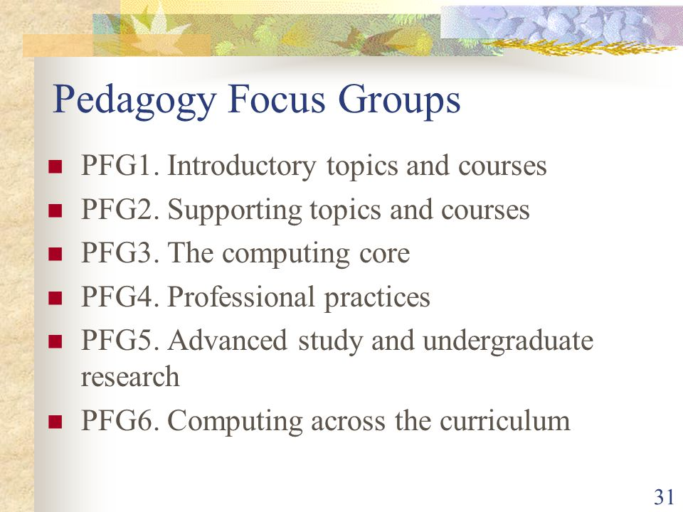 31 Pedagogy Focus Groups PFG1. Introductory topics and courses PFG2.