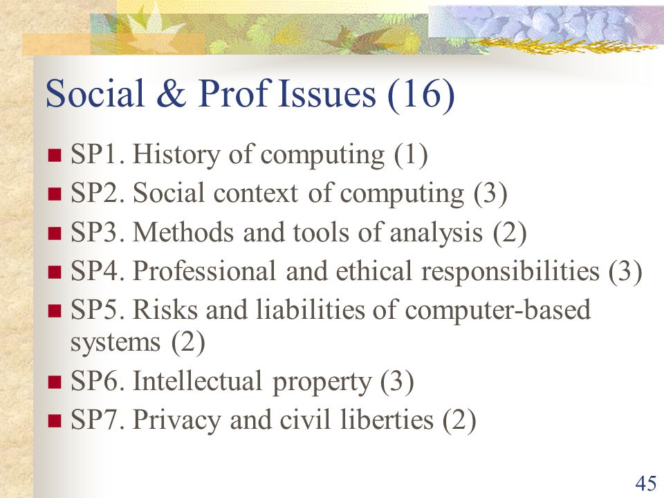 45 Social & Prof Issues (16) SP1. History of computing (1) SP2.