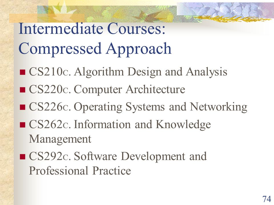 74 Intermediate Courses: Compressed Approach CS210 C.