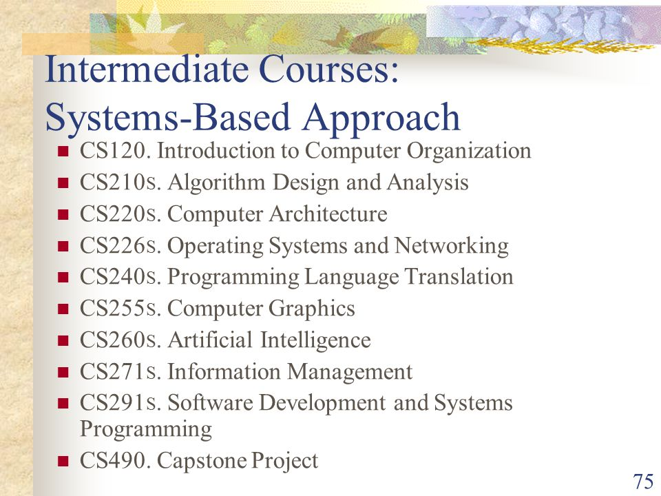 75 Intermediate Courses: Systems-Based Approach CS120.