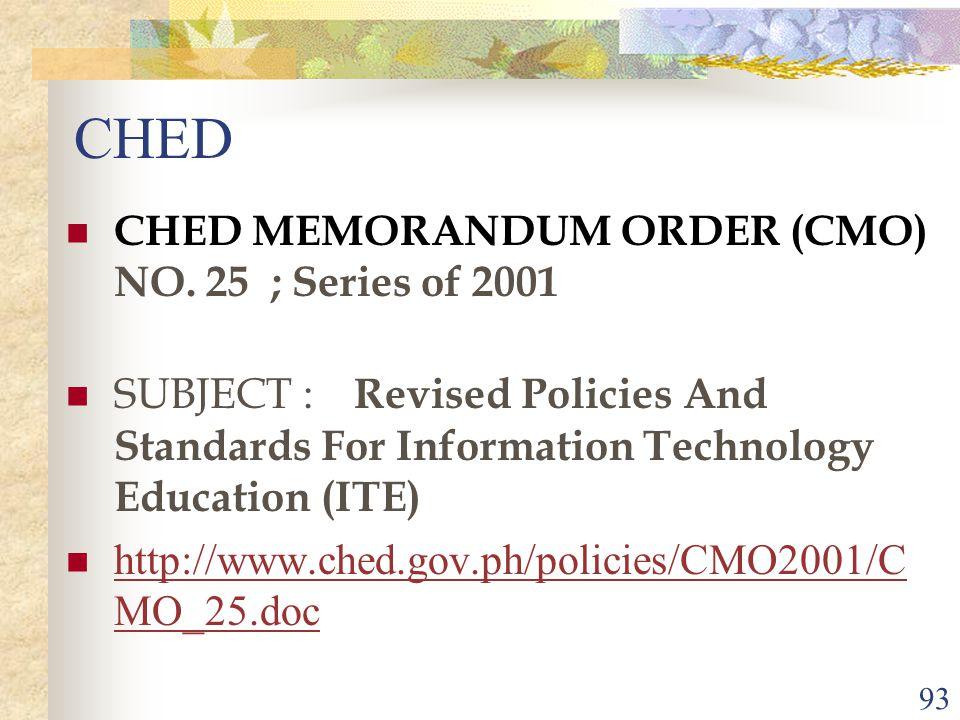 93 CHED CHED MEMORANDUM ORDER (CMO) NO.
