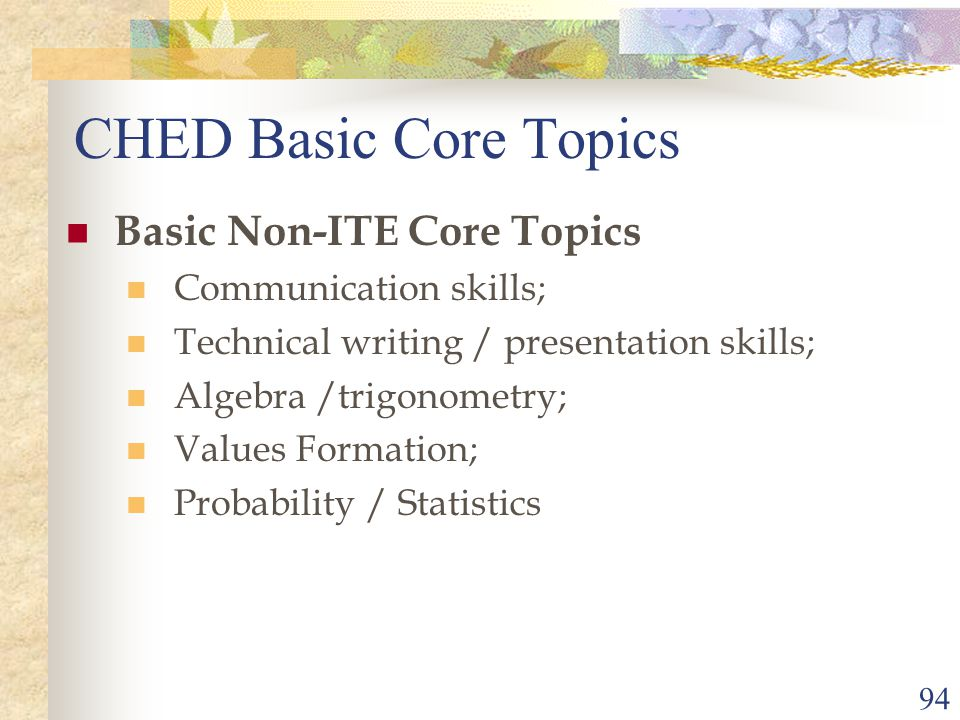 94 CHED Basic Core Topics Basic Non-ITE Core Topics Communication skills; Technical writing / presentation skills; Algebra /trigonometry; Values Formation; Probability / Statistics