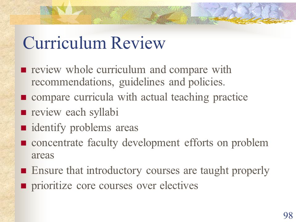 98 Curriculum Review review whole curriculum and compare with recommendations, guidelines and policies.
