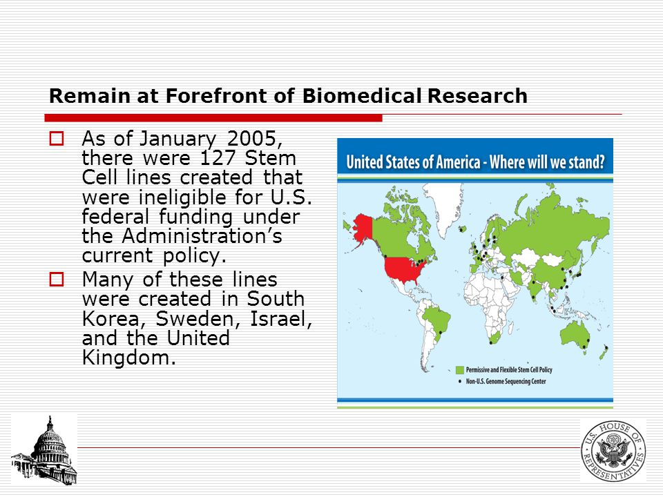 Remain at Forefront of Biomedical Research  As of January 2005, there were 127 Stem Cell lines created that were ineligible for U.S.