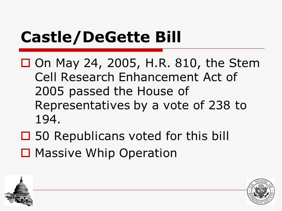 Castle/DeGette Bill  Allows federally funded research on stem cells that have been derived with the following requirements : Originally created for fertility treatment purposes In excess of clinical need Otherwise discarded Written consent provided