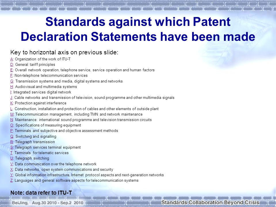 Standards against which Patent Declaration Statements have been made Key to horizontal axis on previous slide: AA: Organization of the work of ITU-T DD: General tariff principles EE: Overall network operation, telephone service, service operation and human factors FF: Non-telephone telecommunication services GG: Transmission systems and media, digital systems and networks HH: Audiovisual and multimedia systems II: Integrated services digital network JJ: Cable networks and transmission of television, sound programme and other multimedia signals KK: Protection against interference LL: Construction, installation and protection of cables and other elements of outside plant MM: Telecommunication management, including TMN and network maintenance NN: Maintenance: international sound programme and television transmission circuits OO: Specifications of measuring equipment PP: Terminals and subjective and objective assessment methods QQ: Switching and signalling RR: Telegraph transmission SS: Telegraph services terminal equipment TT: Terminals for telematic services UU: Telegraph switching VV: Data communication over the telephone network XX: Data networks, open system communications and security YY: Global information infrastructure, Internet protocol aspects and next-generation networks ZZ: Languages and general software aspects for telecommunication systems Note: data refer to ITU-T