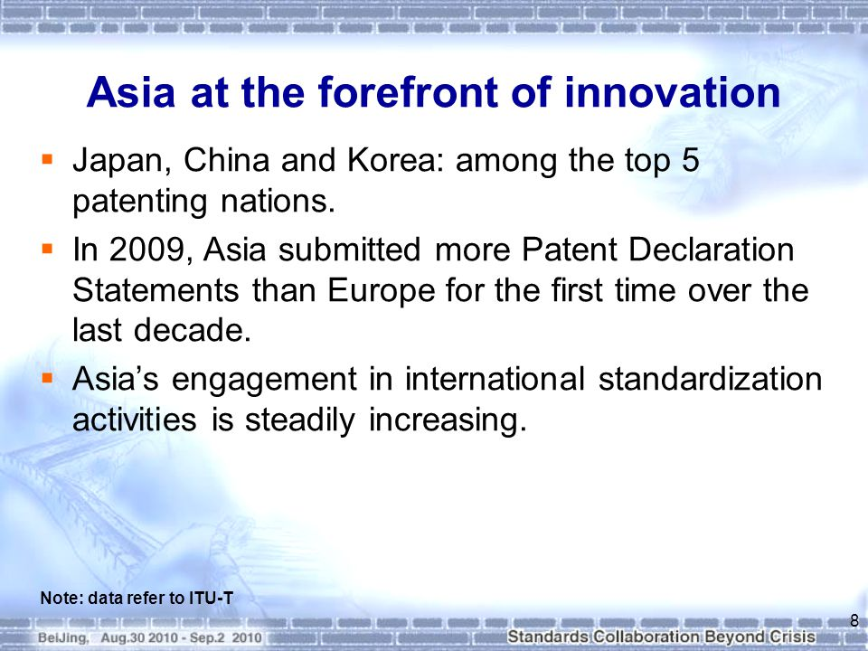 Asia at the forefront of innovation  Since 2002, Korea has been in the top 10 countries submitting Patent Declarations annually.