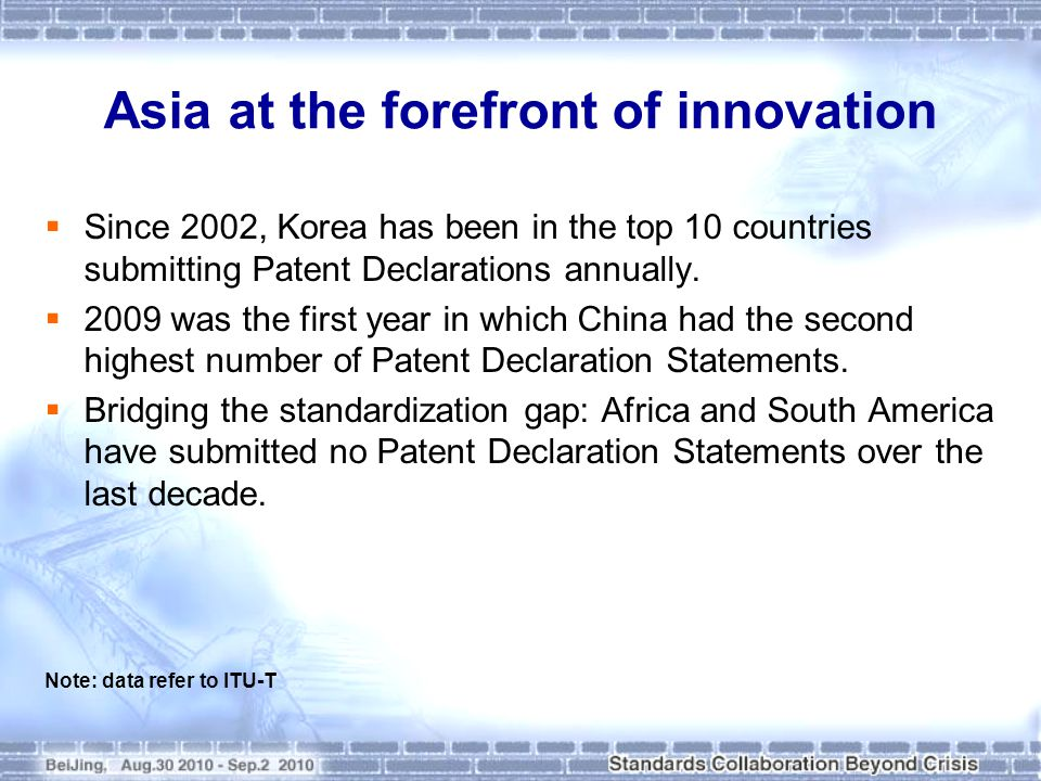 Asia at the forefront of innovation: the case of China  Over the past 5 years, there has been a 5-fold increase in the number of input documents submitted to ITU-T by China.