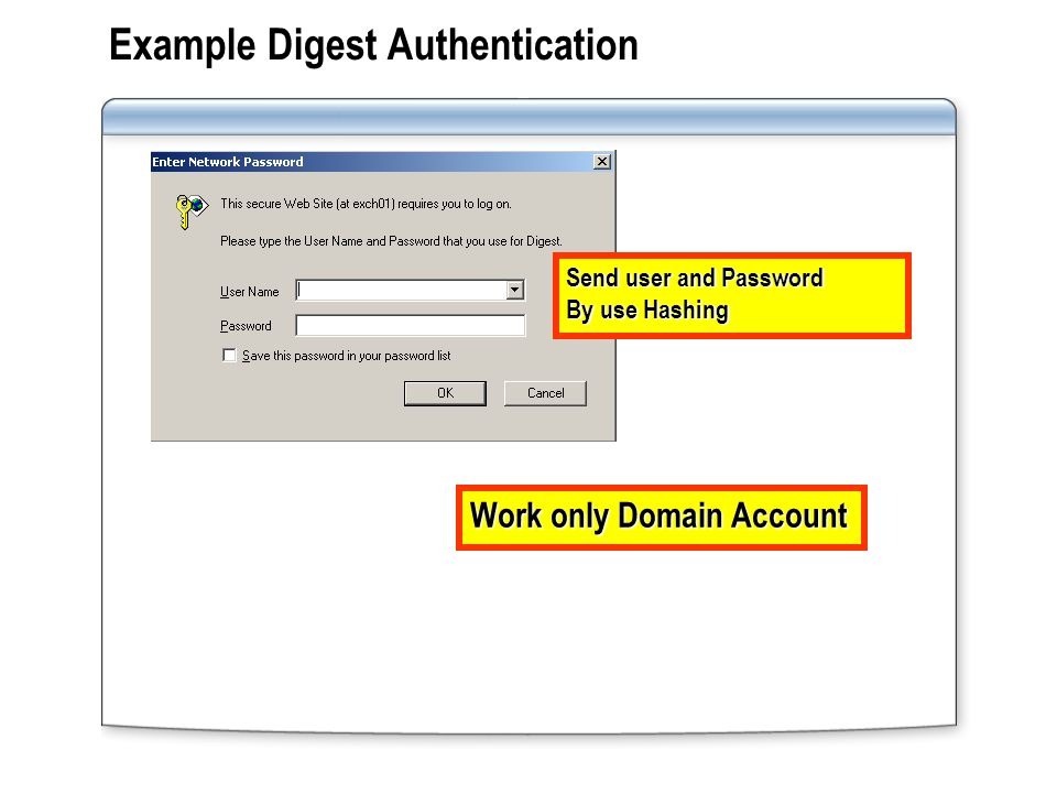 Example Digest Authentication Work only Domain Account Send user and Password By use Hashing