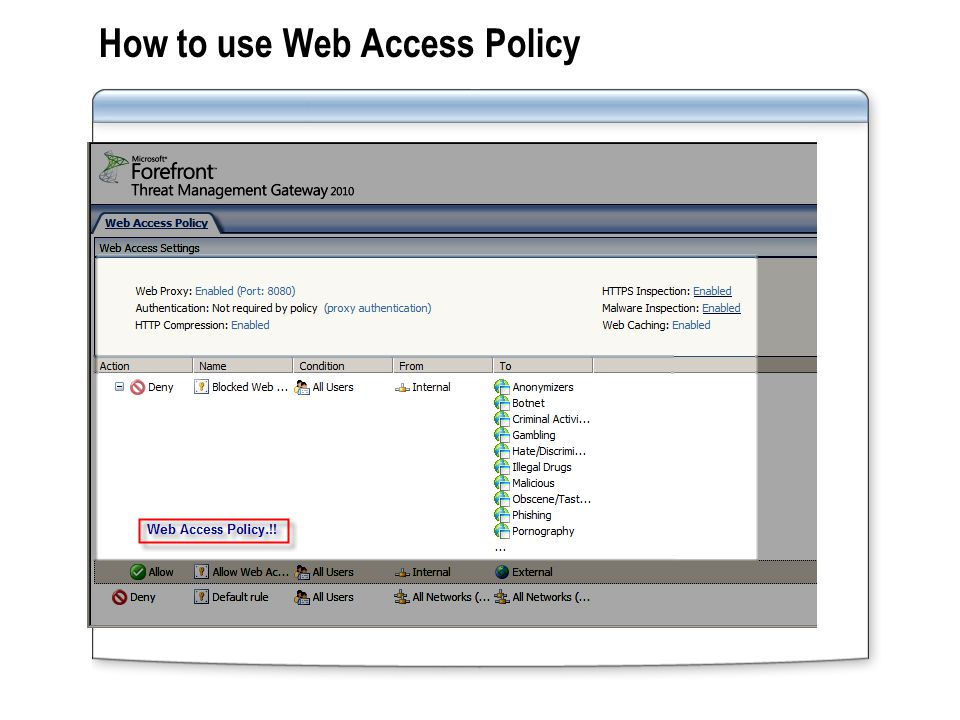 How to use Web Access Policy: Web Destinations