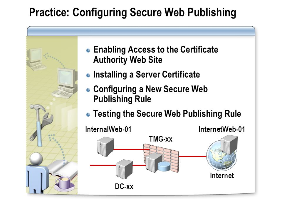 Practice: Configuring Secure Web Publishing Enabling Access to the Certificate Authority Web Site Installing a Server Certificate Configuring a New Se