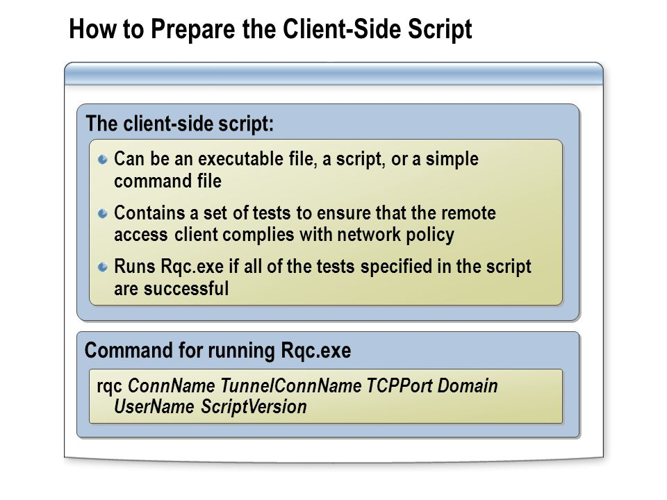 Command for running Rqc.exe How to Prepare the Client-Side Script The client-side script: Can be an executable file, a script, or a simple command fil