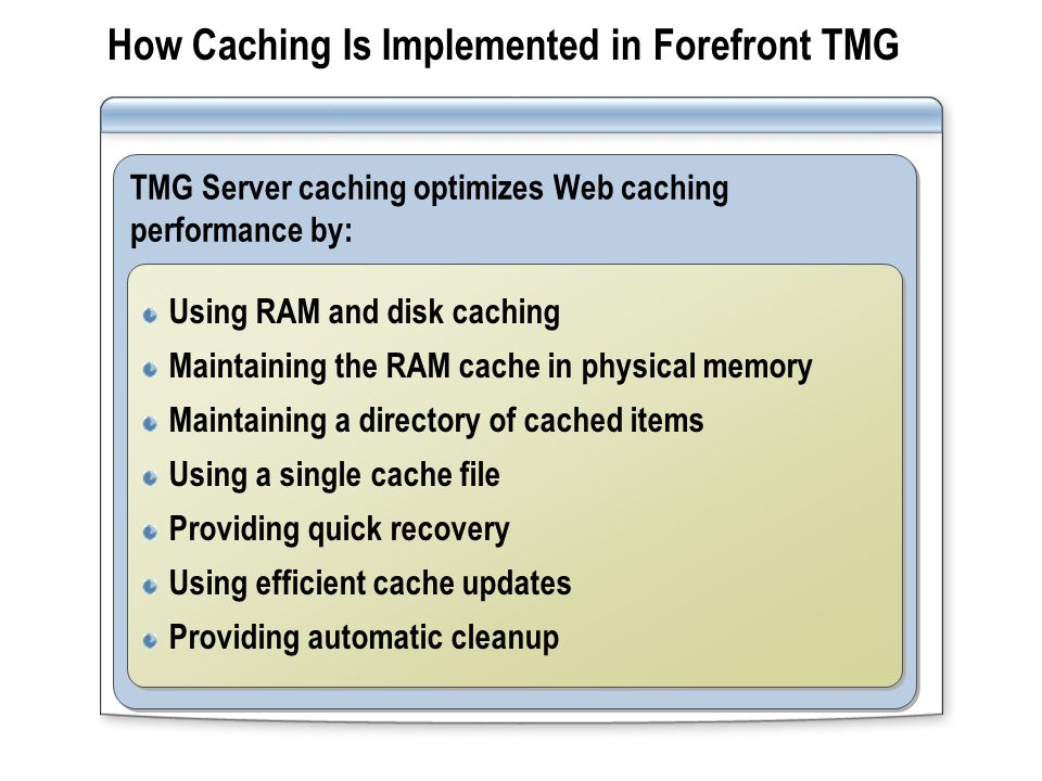 How Caching Is Implemented in Forefront TMG TMG Server caching optimizes Web caching performance by: Using RAM and disk caching Maintaining the RAM ca