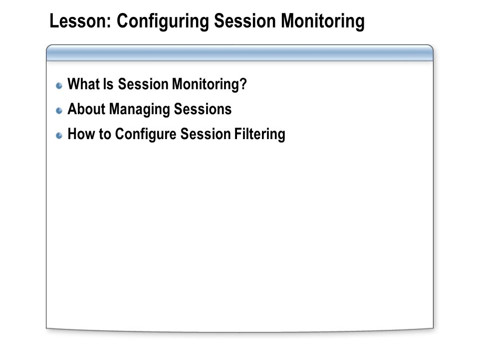 What Is Session Monitoring.