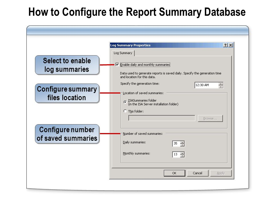 How to Generate a Report Configure the content to include in the report Configure the time period included in the report Configure where the report will be stored Configure where the report will be stored