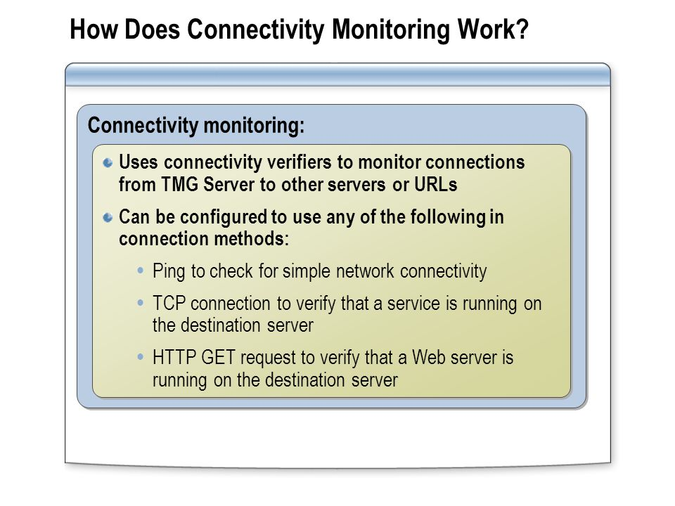 Configuring Connectivity Monitoring Configure the URL or server to connect to Configure the URL or server to connect to Configure the method used to test connectivity Configure the method used to test connectivity