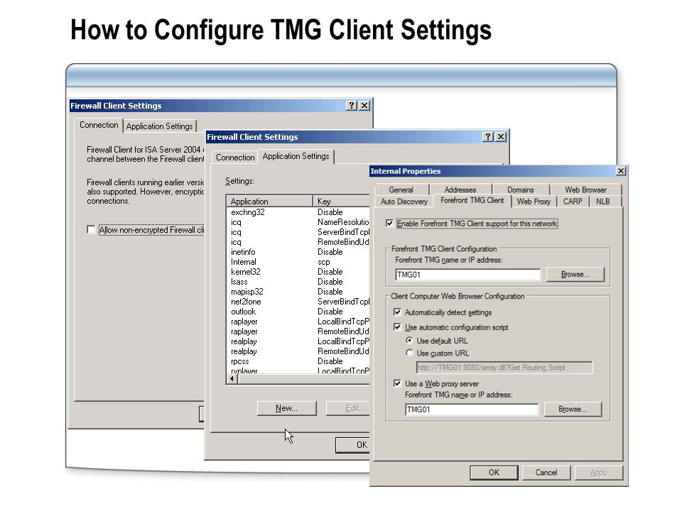The TMG Client Installation and Configuration Process The TMG Client: Uses a common Winsock service provider that other Winsock applications use to connect to application servers Intercepts Winsock client application calls for remote application servers and redirects the request to TMG Server Uses a common Winsock service provider that other Winsock applications use to connect to application servers Intercepts Winsock client application calls for remote application servers and redirects the request to TMG Server Install the TMG Client: From the TMG Client share on computer running TMG Server or another network share