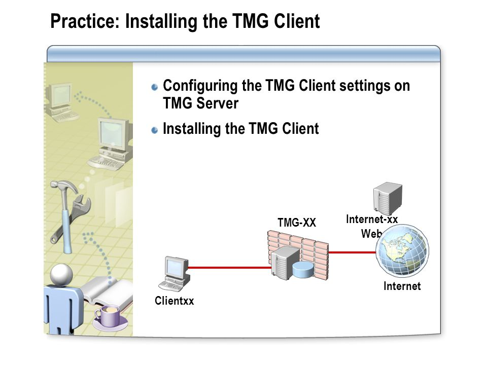 Practice: Installing the TMG Client Configuring the TMG Client settings on TMG Server Installing the TMG Client Internet TMG-XX Internet-xx Web Client