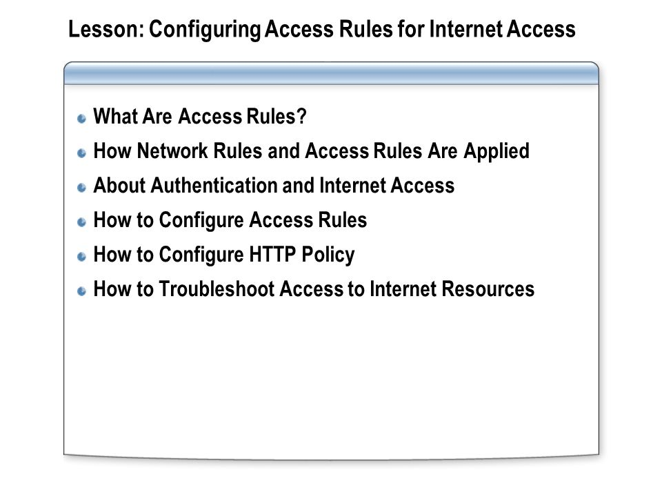 What Are Access Rules.